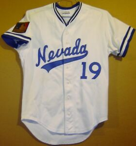 official photos ad361 94160 Details about NEVADA WOLFPACK at RENO #19 GAME WORN WHITE COLLEGE BASEBALL  JERSEY