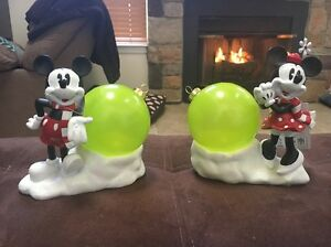 Disney Mickey Minnie Mouse Lighted Christmas Ornament Table Top Decoration