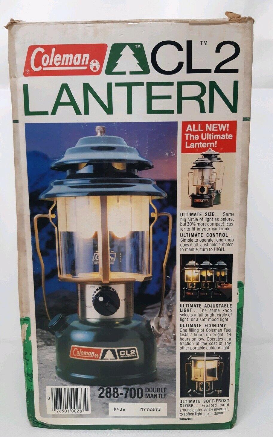 COLEuomo doppio uomotello Lanterna Campeggio regolabile CL2 modellololo 288700 288700 288700 scatola 1985 VINTAGE 80s a87