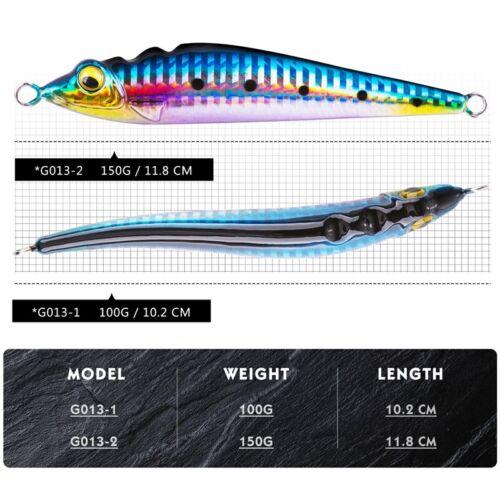 1PC 100g 150g Vertical Jigging Fishing Lure Metal Jig Big Game Saltwater Tuna
