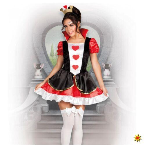 Kostüm Herz-Königin Kleid Haarreif Fasching Märchen Alice Skatspiel Herzdame
