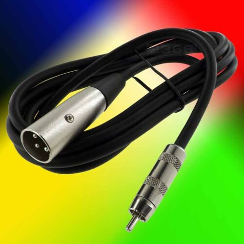 Black XLR 3 Pin Male to RCA Male Microphone Cable 25 Ft