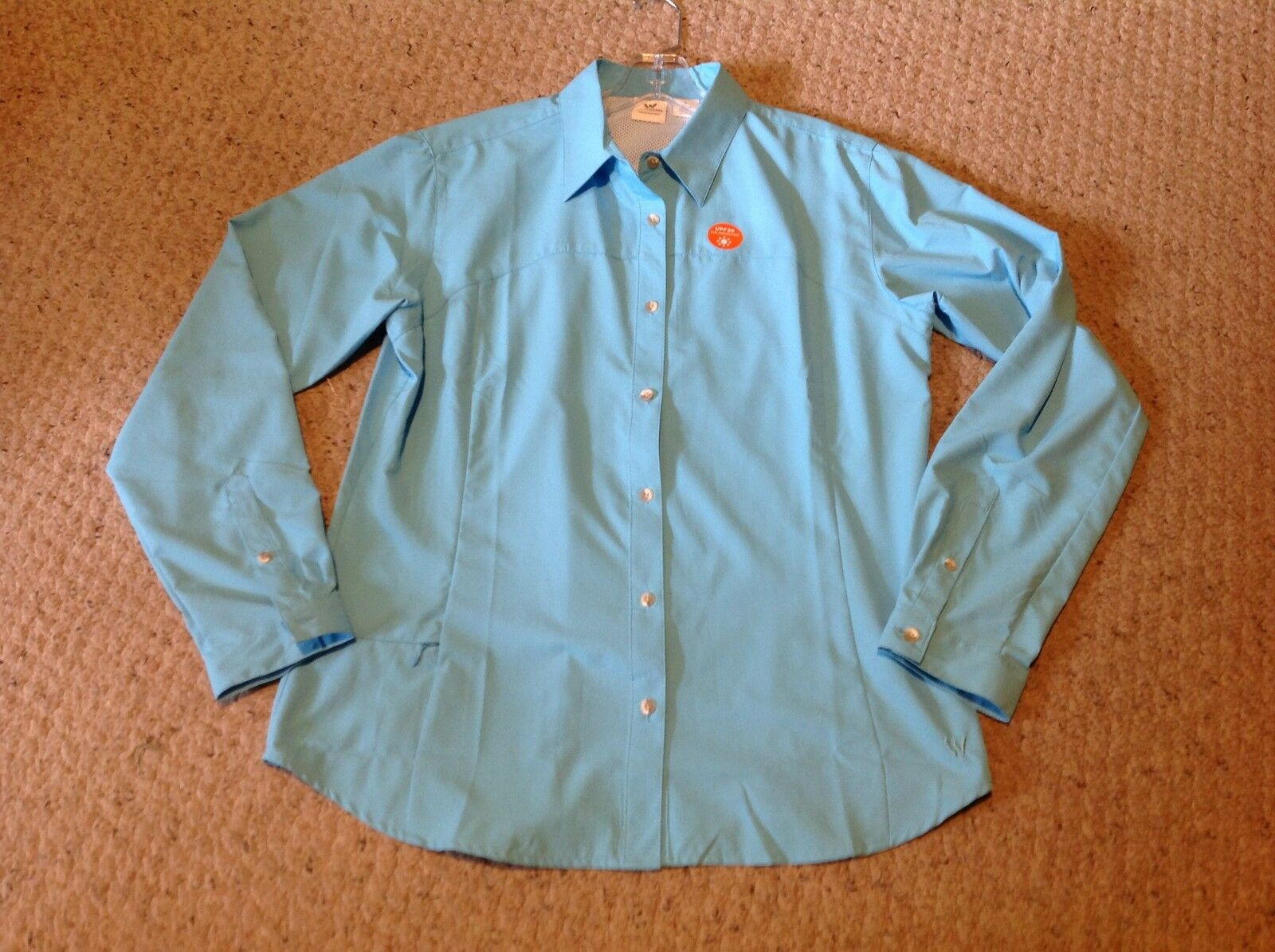 Women's size Small White Sierra Turquoise Fishing Shirt, long sleeves, UPF 30