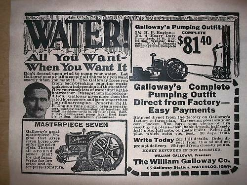 "VINTAGE REPRINT ADVERT GALLOWAY STATIONARY GAS ENGINE 1920 11/""x14/"" 324"