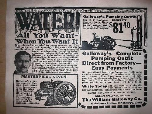 "VINTAGE REPRINT ADVERT GALLOWAY STATIONARY GAS ENGINE 1920 11/""x14/"" 324"