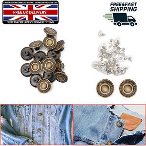 10 pcs 17 mm Marteau sur Denim Jeans boutons en laiton de rechange Rivets Veste