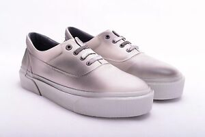 LANVIN-950-Authentic-New-Ivory-Grey-Spray-Paint-Leather-Oxford-Sneakers