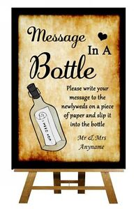 Western Vintage Wanted Message In A Bottle Personalised Wedding Sign ...