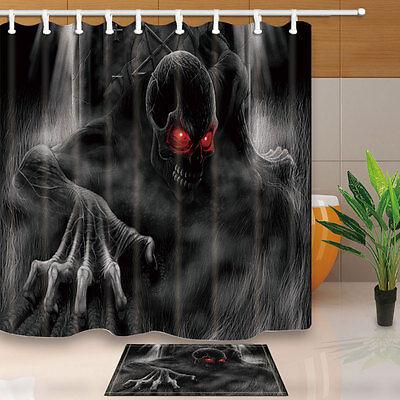Halloween Horror Skull Shower Curtain Set Waterproof Fabric Bathroom w//12 Hooks