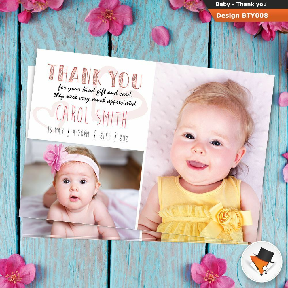 Personalised photo New Baby birth Thank you announcement cards Girl or Boy