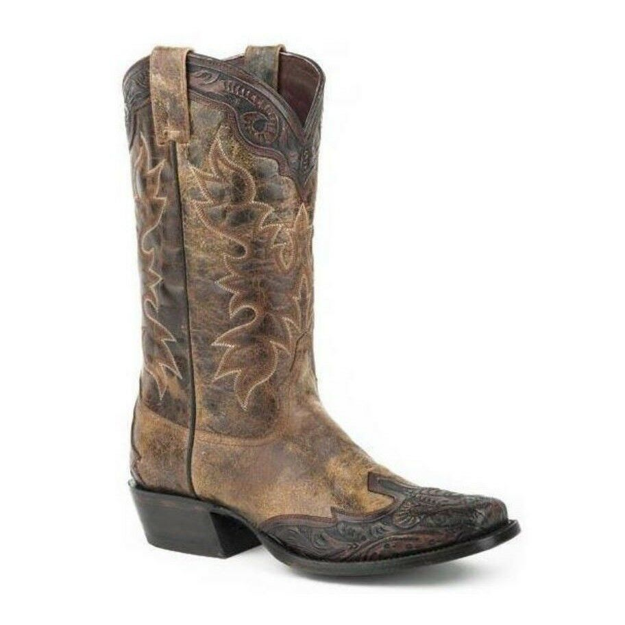 Stetson Men's Brown Tooled Leather 12-020-8663-0777 Boot 12-020-8663-0777 Leather 118e35