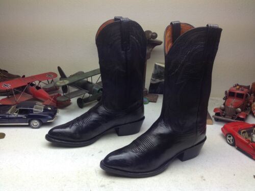 LUCCHESE BLACK LEATHER ENGINEER WESTERN COWBOY TRA