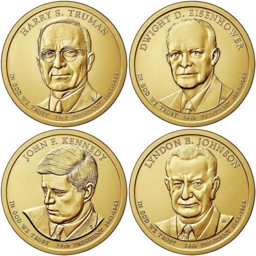 USA US DOLLAR 2015 PRESIDENT SET 4 COIN 33rd 34th 35th 36th TRUMAN IKE JFK JOHN