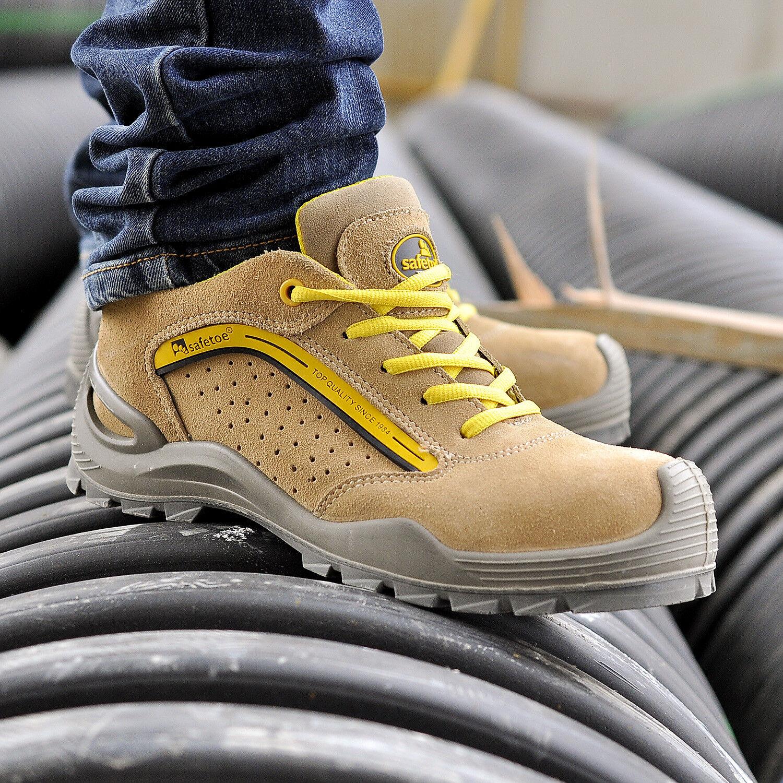 Uomo Safety scarpe Work stivali Steel Toe Leather Leather Leather Breathable Anti-smashing scarpe 13e6df