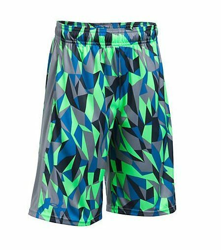 NWT Under Armour Heatgear Boys Graphite /& Blue Stunt Athletic Shorts Size S