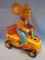 MASUDAYA TOM & JERRY HAND CAR TIN TOY Battery Operated 1960's ? ( JAPAN -WORKS )