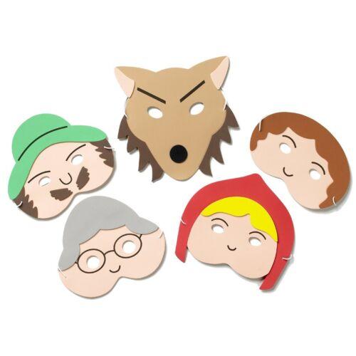 Confezione di 5 maschere per viso in schiuma-Cappuccetto Rosso Storia delle Maschere-Maschere per bambini