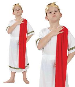 Childrens-Roman-Emperor-Fancy-Dress-Costume-Caesar-Togar-Outfit-3-13-Yrs