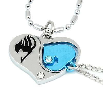 Cosplay Fairy Tail Herz Halskette Paar Kette Anime Couple ❤❤ Necklace Anhänger