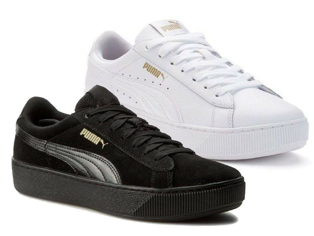 Puma Vikky Platform Women's shoes Sneakers Black White Leather Suede Run Fit