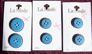 6 ANTIQUE VINTAGE MATCHING BLUE/BLACK ROUND BUTTONS ON ORIGINAL CARDS