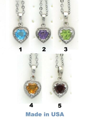 Heart Facet Topaz Gem 5 Colors Stainless Steel Necklace Pendant Non-Tarnish NEW
