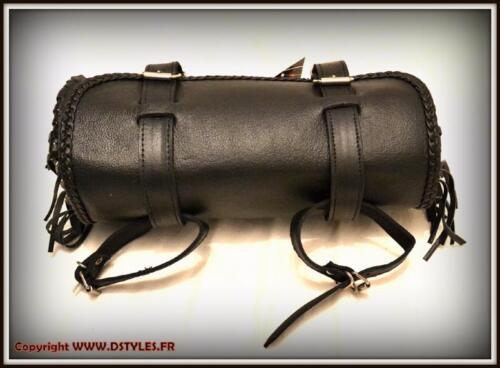 trike etc... Sacoche de fourche en Cuir Souple avec Franges pour moto custom