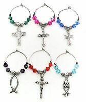 Wine Glass Charms / Markers - Crosses & Fish - Set Of 6