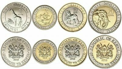 KENYA COMPLETE COIN SET 1+5+10+20 Shillings 2018 NEW SERIES