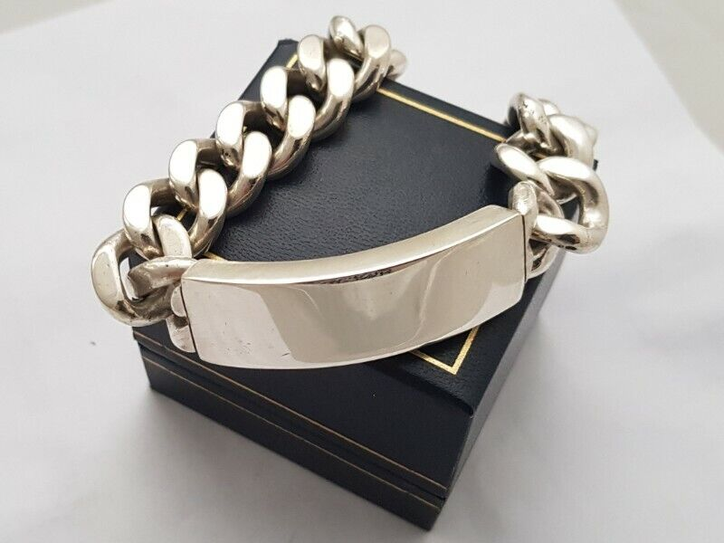 BA568 Sterling Silver Thick Mens ID Bracelet