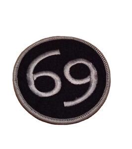 Number 69 3 Inch  British Motorcycle PATCH Badge Biker Ace Cafe Badge Rocker