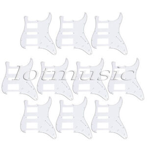 10pcs White Electric Guitar Pickguards 3 Ply 11 Hole HSH For Fender Stratocaster