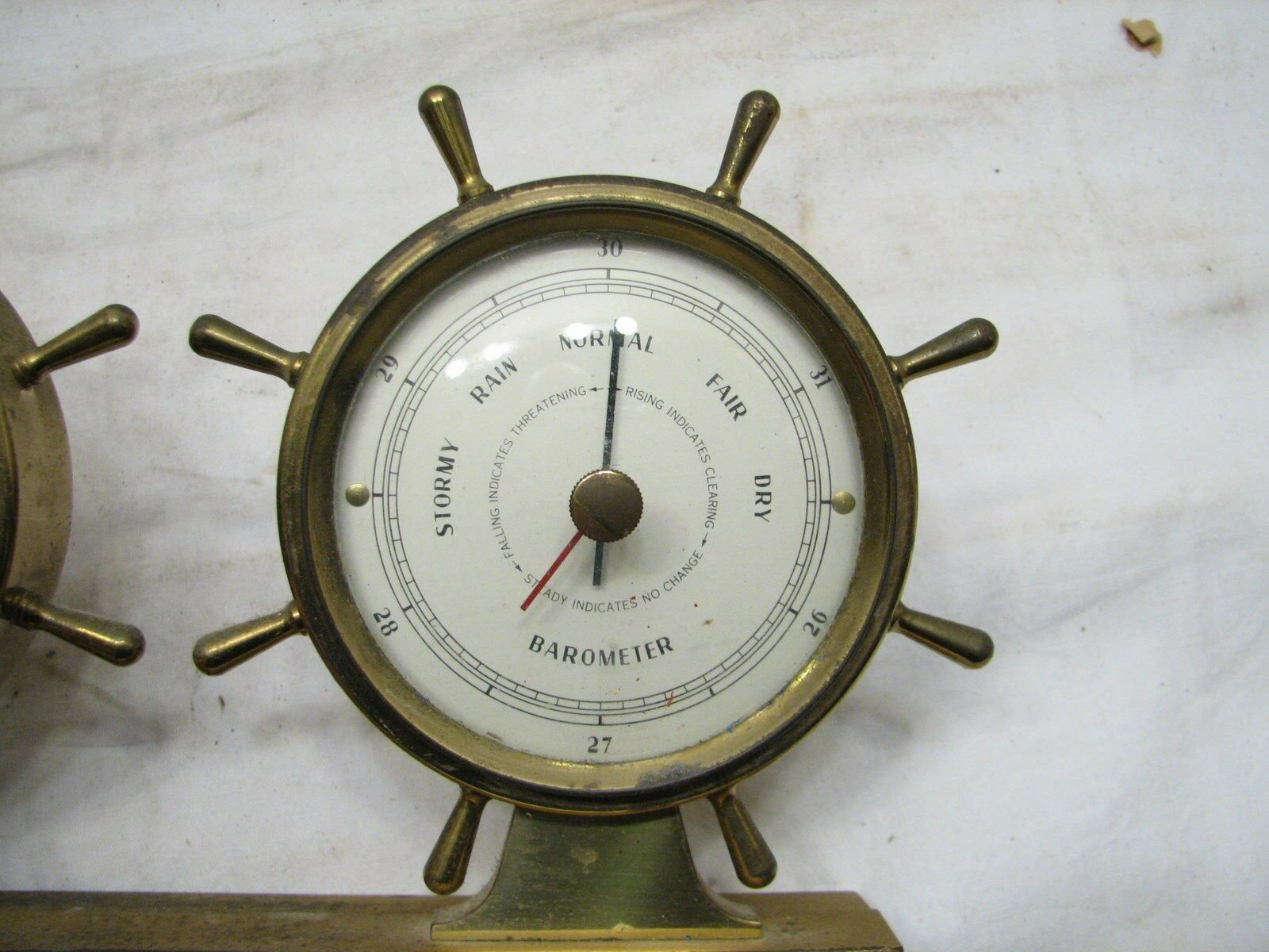 Airguide Brass Ship's Wheel Nautical Weather Station Thermometer Thermometer Thermometer Barometer Deco 123aef