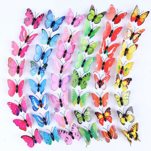 50x 3D Butterfly Wall Stickers Art Decal Home Room Decorations Decor Kids Magnet