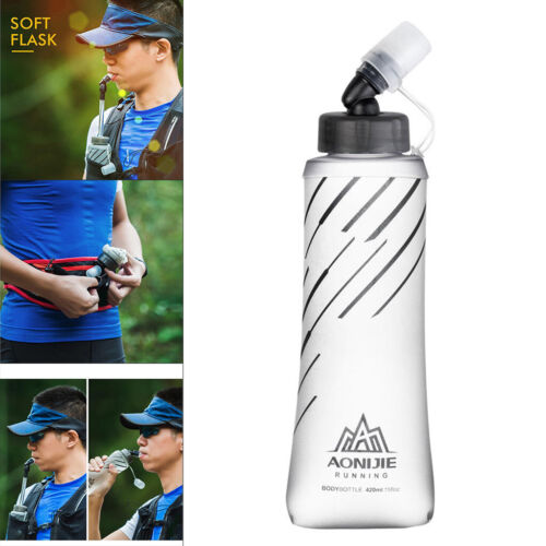 TPU Foldable Running Water Bottles Squeeze for Running Hiking Soft Flask