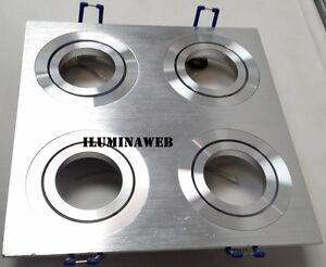 Empotrable-cuadruple-GU10-Cuadrado-Aluminio-Pulido-Natural-y-Aro-Redondo-Cromado