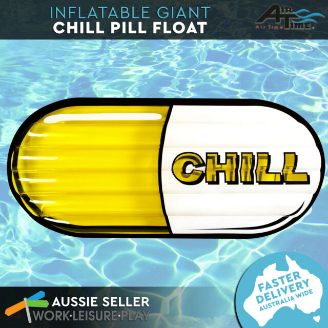 Giant Inflatable Pool Float Yellow Chill Pill Air Lounge Beach Toy Airtime