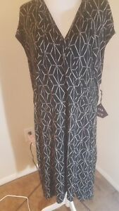 1215d4a3d18d4 Ava-viv Target Womens Black Printed Faux Wrap Dress New Without Tags ...