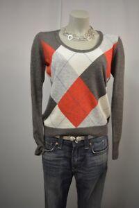 wol gebreide grijs rood M trui geruit kasjmier Esprit patroon top a636 taupe TZnBqB0