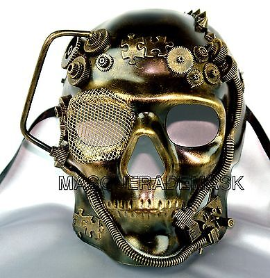 Metallic Gold Silver Steampunk Machinery Custom Prom Party Mens Masquerade Mask