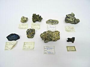 8 Mineralien Kupfer Kies Kies Prehnit Datolith Antimonit Covellin