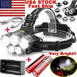 750000LM-5X-T6-LED-Headlamp-Rechargeable-Head-Light-Flashlight-Torch-Lamp-USA