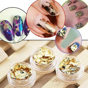 12-Stueck-Nail-Art-Gold-Silber-Polnisch-Glitter-Folie-Paillette-Flake-Chip