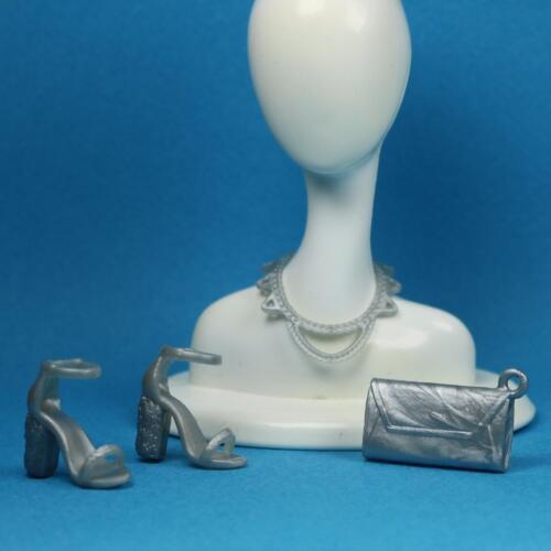 Silver Block Heeled Ankle Wrap Sandals Shoes Clutch Purse Necklace Barbie