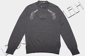 DOLCE-amp-GABBANA-2500-Authentic-New-Gray-Cashmere-Gun-Embroidery-Sweater