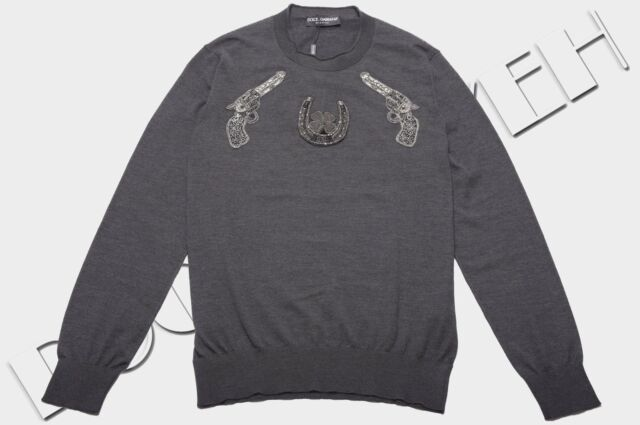 DOLCE & GABBANA 2500$ Authentic New Gray Cashmere Gun Embroidery Sweater