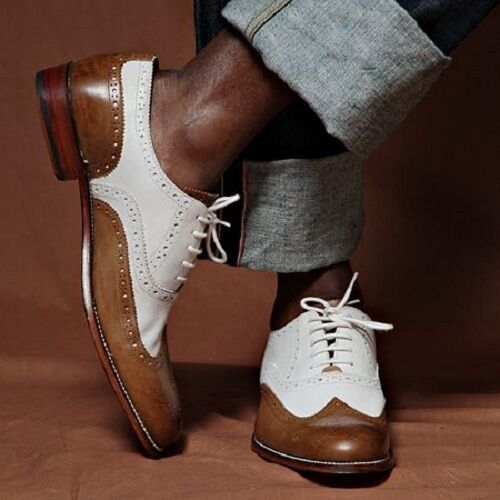 Handmade Men spectator shoes, Men two tone shoes, Men wingtip brogue dress shoes