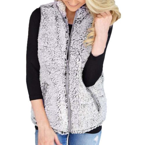 Womens Vest Winter Warm Outwear Casual Faux Fur Zip Up Sherpa Jacket P6