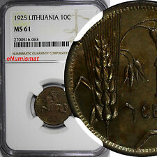Lithuania Aluminum-Bronze 1925 10 Centu NGC MS61 1 YEAR TYPE KM# 73