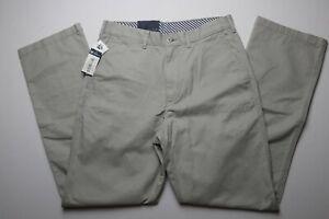 New-Cremieux-Mens-Chino-Pants-Size-30-x-32-Madison-Gray-Flat-Front-Straight-Leg